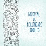 Medicine doodle background. Health care and medicine doodle background. Vector illustration Royalty Free Stock Image
