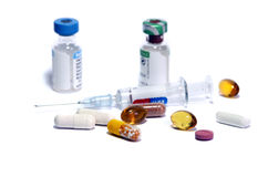 Medicine doping. Syringe and medicine bottles as symbol of doping Stock Photo