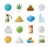 Medicine or drug icons Royalty Free Stock Images