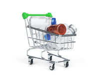 Medicine drug and pill in shopping cart.  Stock Photo