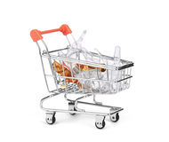 Medicine drug and pill in shopping cart Stock Image