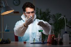 The medicine drug researcher working in lab. Medicine drug researcher working in lab Stock Photos