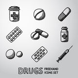 Medicine, drugs handdrawn icons set. vector Royalty Free Stock Images