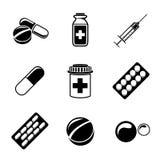 Medicine, drugs monochrome icons set with - pills Royalty Free Stock Photo