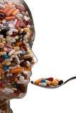 Medicine e ridurre in pani per curare malattia Fotografie Stock