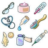 Medicine ed insieme dell'icona dei prodotti farmaceutici Illustrazione di Stock