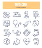 Medicine Doodle Icons. Medicine, emergency care & pharmacy doodle icons for website and printing materials royalty free illustration