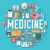 Medicine equipment circle infographics template concept. Icons design for your product or design, web and mobile. Applications Royalty Free Stock Photo