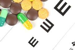 Medicine and eye chart Stock Photography