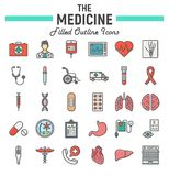 Medicine filled outline icon set, medical symbols Royalty Free Stock Photography