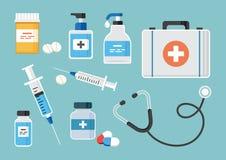 Medicine set. Vector illustration royalty free illustration