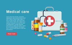 Medicine first aid supplies banner Royalty Free Stock Image