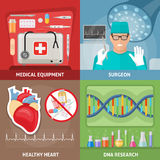 Medicine Flat Compositions. With professional equipment surgeon at workplace healthy heart dna research isolated vector illustration Royalty Free Stock Photography