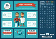 Medicine flat design Infographic Template. Medicine infographic template and elements. The template includes illustrations of hipster men and huge awesome set of Royalty Free Stock Images