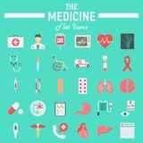 Medicine flat icon set, medical symbols collection Stock Images