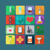 Medicine flat icon set Stock Photography