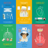 Medicine flat icons composition poster Stock Image