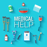 Medicine flat icons set concept. Vector Royalty Free Stock Image