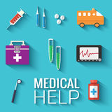 Medicine flat icons set concept. Vector Stock Photography