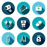 Medicine flat icons set. Medicine icon collection on a colored background Royalty Free Stock Photos