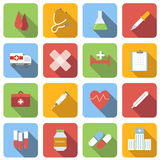 Medicine flat icons set. Images with long shadow in square, on white background Stock Image