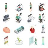 Medicine Future Technology Icons. Medical future technologies isometric icons set with 3d organs printing regeneration genetic engineering prosthesis isolated Stock Images