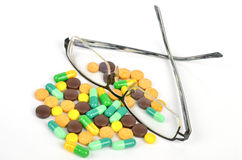 Medicine and glasses Stock Image
