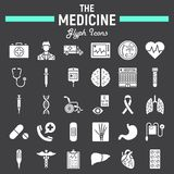 Medicine glyph icon set, medical signs collection Stock Photography