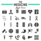 Medicine glyph icon set, medical signs collection Royalty Free Stock Image