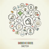 Medicine hand draw sketch icons Royalty Free Stock Photography