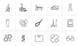 Medicine hand drawn outline doodle icon set. Stock Image