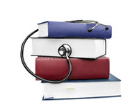 Medicine health books and stethoscope Royalty Free Stock Image