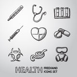 Medicine and health care colorful freehand icons Stock Photography