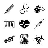 Medicine and health care colorful freehand icons Royalty Free Stock Photos