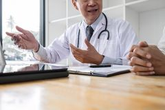 Medicine and health care concept, Professor Doctor presenting report of diagnosis and recommend something a method with patient. Treatment, after results about royalty free stock images