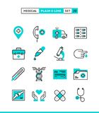Medicine, health care, emergency, pharmacology and more. Plain and line icons set, flat design, vector illustration Stock Photos