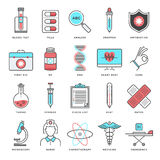 Medicine and Health Care Flat Line Icon Set Royalty Free Stock Images