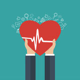 Medicine and health care icon. Hands holding heart with pulse sign. Flat vector illustration stock illustration