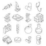 Medicine and health care isometric 3d line icons Royalty Free Stock Photography
