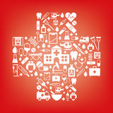 Medicine and Health Care symbols in a cross shape Stock Images