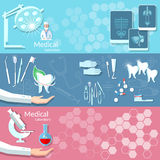 Medicine health dentistry medical instruments banners Stock Photos