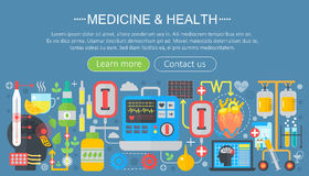 Medicine and health design concept set with healthcare medicine devices infographics template design, web header. Elements, poster banner. Vector illustration Stock Illustration
