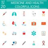 Medicine and health flat icon set medical symbols Royalty Free Stock Images