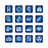 Medicine and health icons set. On the blue background Royalty Free Stock Images