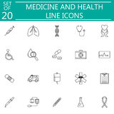 Medicine and health line icon set medical symbols Royalty Free Stock Photography