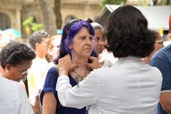 Medicine and Health. Rio de Janeiro, Brazil - november 21, 2017: Health professional examines possible thyroid nodule in a patient royalty free stock photos