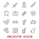 Medicine and health thin line icons set Royalty Free Stock Photo