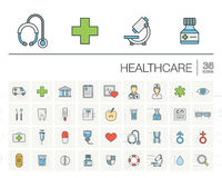 Medicine and healthcare color vector icons Stock Images