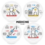 Medicine And Healthcare Concept. With doctor nurse hospital syringe dna stethoscope microscope ambulance car medical kit pills dna caduceus line icons isolated Royalty Free Stock Photos