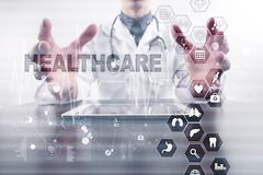 Medicine and healthcare concept. Medical doctor working with modern pc. Electronic health record. EHR, EMR. Medicine and healthcare concept. Medical doctor royalty free stock images